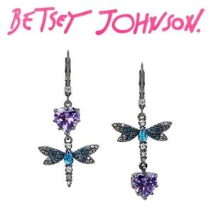 Betsey Johnson CZ Dragonfly Mismatch Drop Earrings